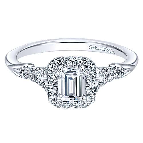 Gabriel - Cyrus 14k White Gold Emerald Cut Halo Engagement Ring