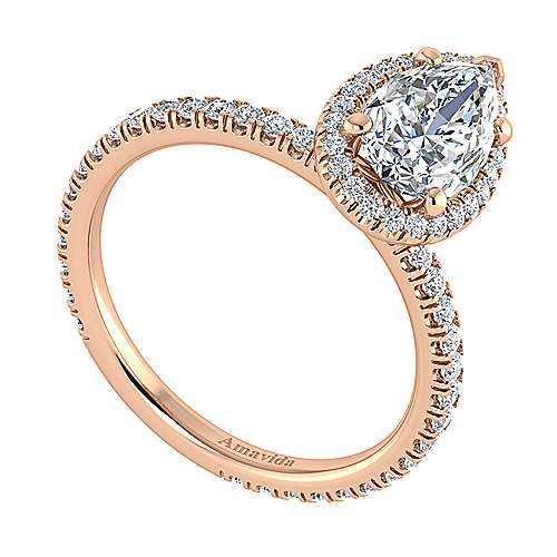 Daffodil 18k Rose Gold Pear Shape Halo Engagement Ring angle 3