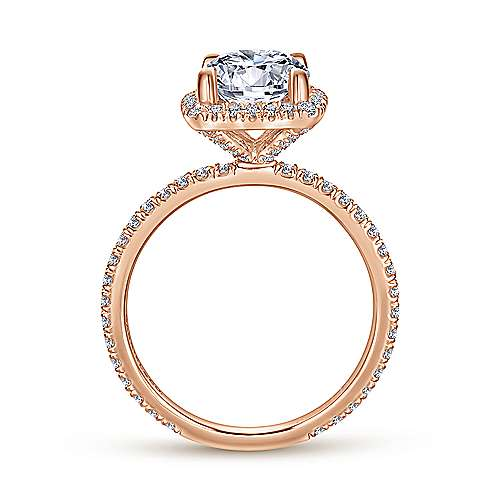 Daffodil 18k Rose Gold Round Halo Engagement Ring angle 2