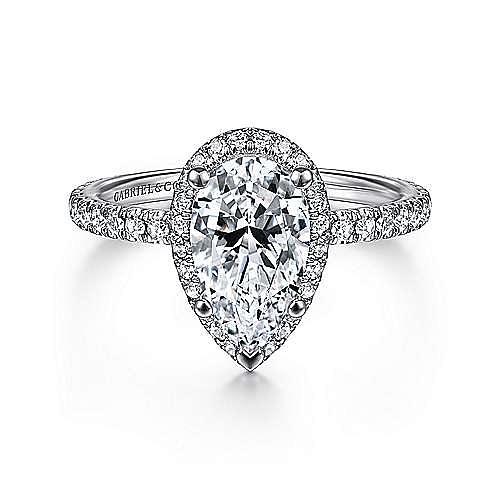 Gabriel - Daffodil 18k White Gold Pear Shape Halo Engagement Ring