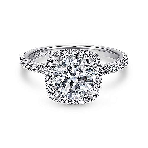 Gabriel - Daffodil 18k White Gold Round Halo Engagement Ring