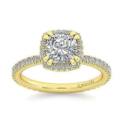 Daffodil 18k Yellow Gold Cushion Cut Halo Engagement Ring angle 5