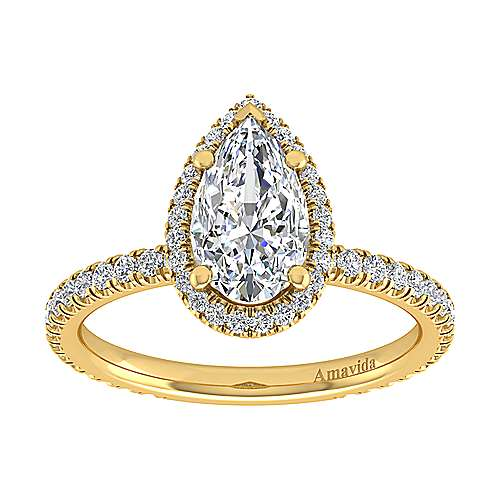 Daffodil 18k Yellow Gold Pear Shape Halo Engagement Ring angle 5