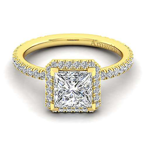 Daffodil 18k Yellow Gold Princess Cut Halo Engagement Ring angle 1