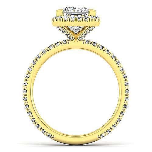 Daffodil 18k Yellow Gold Princess Cut Halo Engagement Ring angle 2