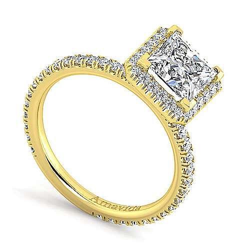 Daffodil 18k Yellow Gold Princess Cut Halo Engagement Ring angle 3