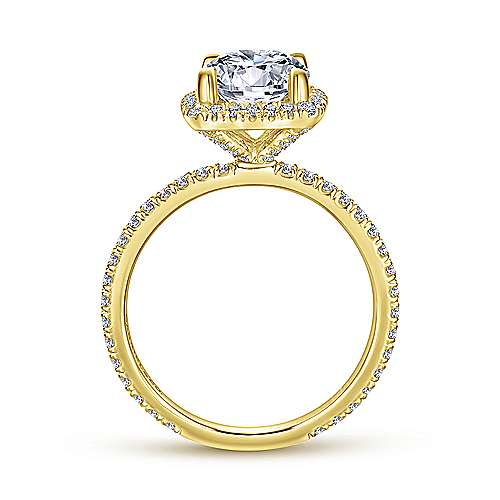 Daffodil 18k Yellow Gold Round Halo Engagement Ring angle 2