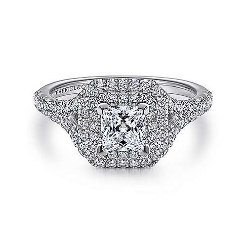 Gabriel - Dahlia 14k White Gold Princess Cut Double Halo Engagement Ring