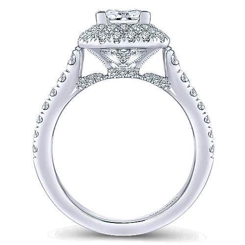Daisy 14k White Gold Princess Cut Double Halo Engagement Ring angle 2