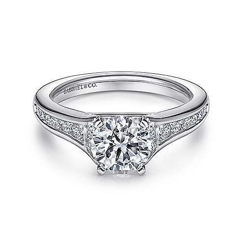 Dakota 14k White Gold Round Straight Engagement Ring angle 1