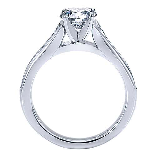 Dakota 14k White Gold Round Straight Engagement Ring angle 2