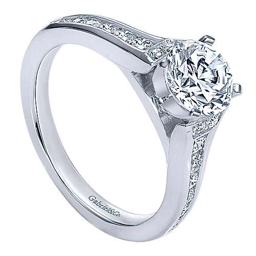 Dakota 14k White Gold Round Straight Engagement Ring angle 3
