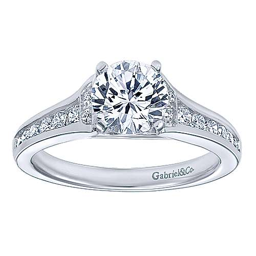 Dakota 14k White Gold Round Straight Engagement Ring angle 5