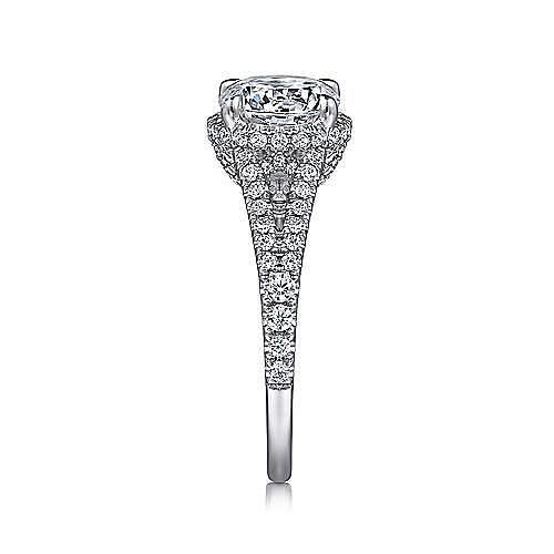Damiana 18k White Gold Round Halo Engagement Ring angle 5