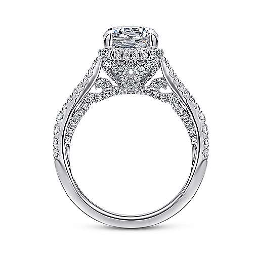 Damiana 18k White Gold Round Halo Engagement Ring angle 2