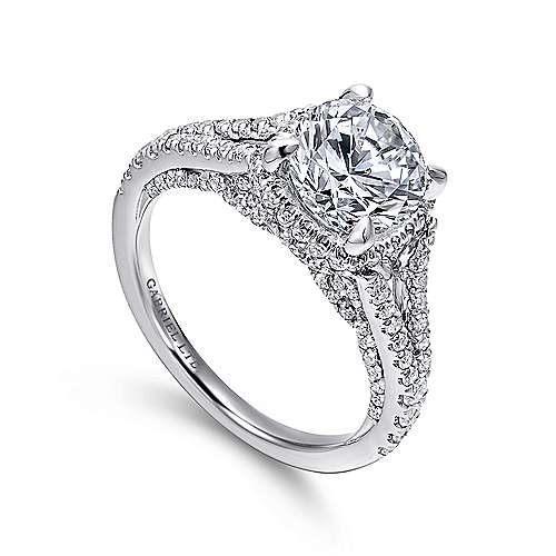 Damiana 18k White Gold Round Halo Engagement Ring angle 3