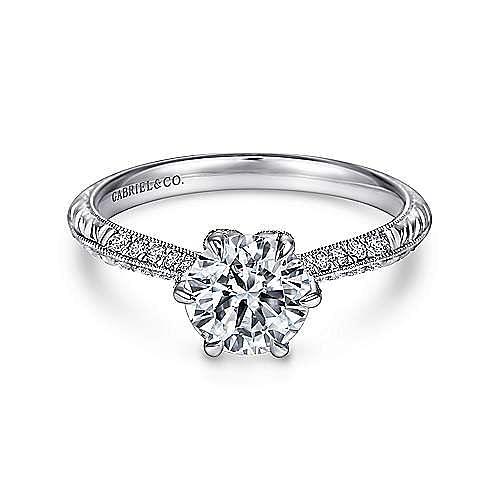 Dane Platinum Round Straight Engagement Ring angle 1