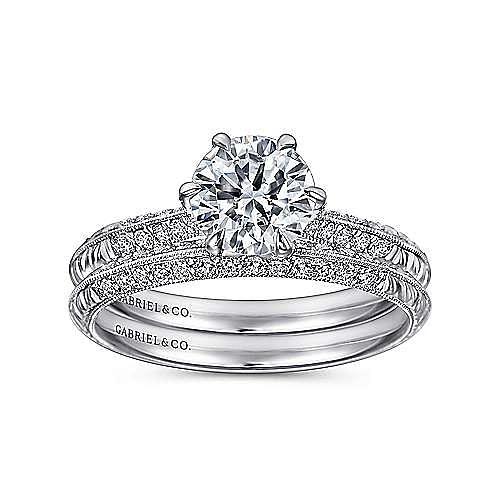 Dane Platinum Round Straight Engagement Ring angle 4