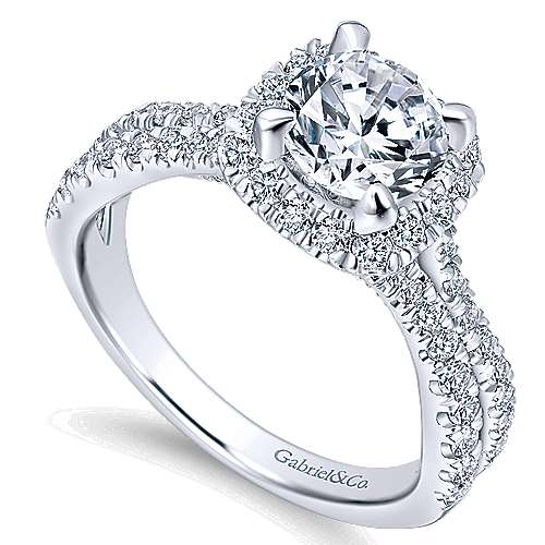 Danica 14k White Gold Round Halo Engagement Ring angle 3