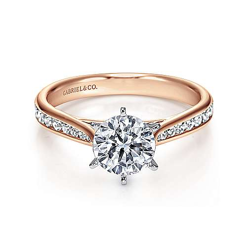 Gabriel - Danielle 14k White And Rose Gold Round Straight Engagement Ring