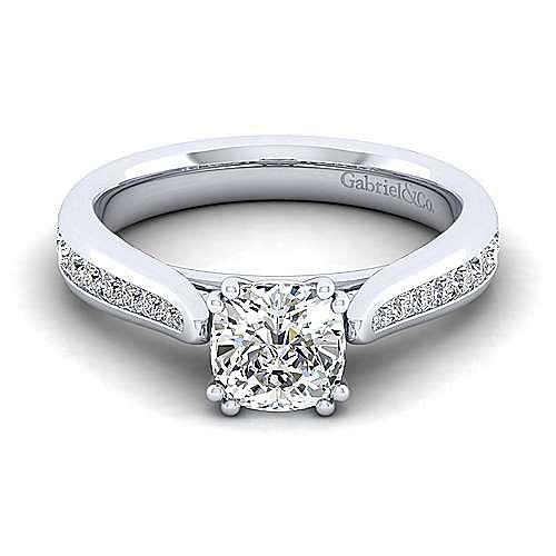 Gabriel - Danielle 14k White Gold Cushion Cut Straight Engagement Ring
