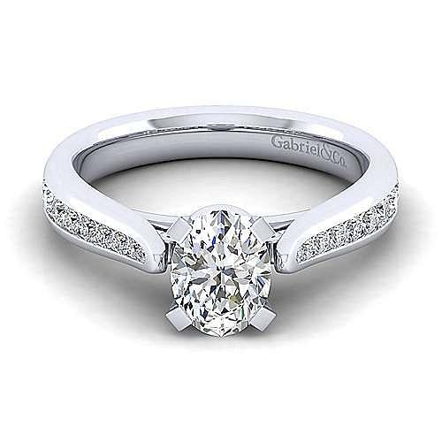 Gabriel - Danielle 14k White Gold Oval Straight Engagement Ring