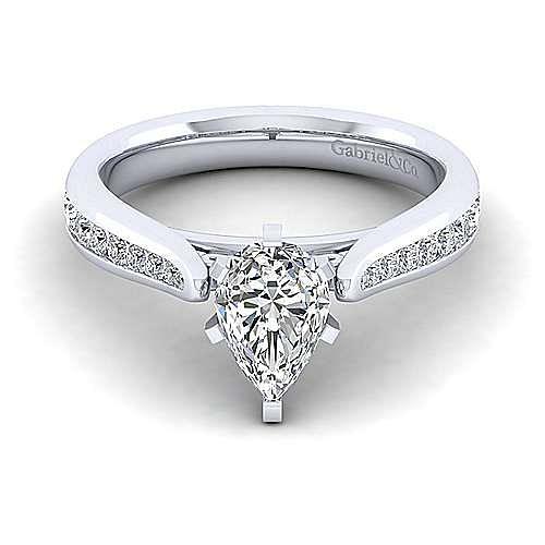 Gabriel - Danielle 14k White Gold Pear Shape Straight Engagement Ring