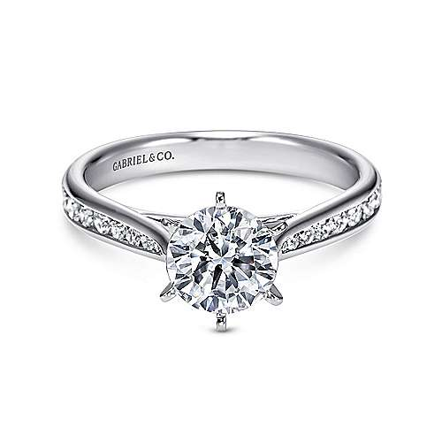 Danielle 14k White Gold Round Straight Engagement Ring angle 1