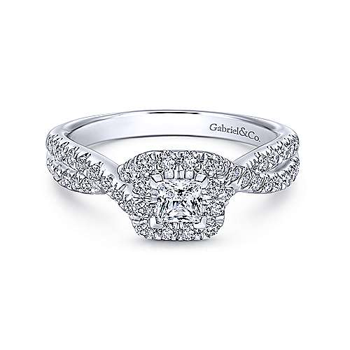 Gabriel - Dante 14k White Gold Princess Cut Halo Engagement Ring