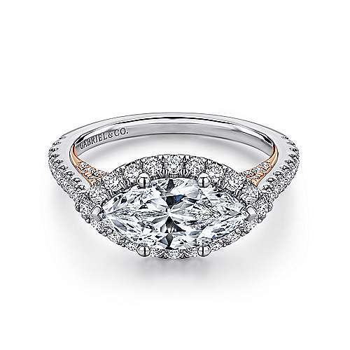 Gabriel - Daphne 18k White And Rose Gold Marquise  Halo Engagement Ring
