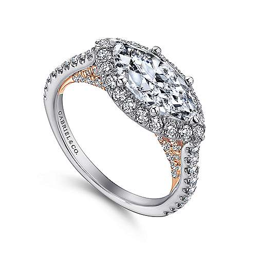 Daphne 18k White And Rose Gold Marquise  Halo Engagement Ring angle 3