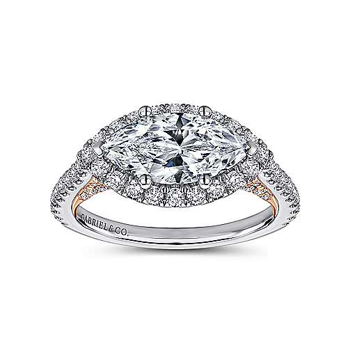 Daphne 18k White And Rose Gold Marquise  Halo Engagement Ring angle 5