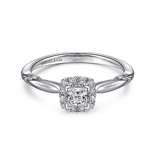 Gabriel - Daraga 14k White Gold Princess Cut Halo Engagement Ring