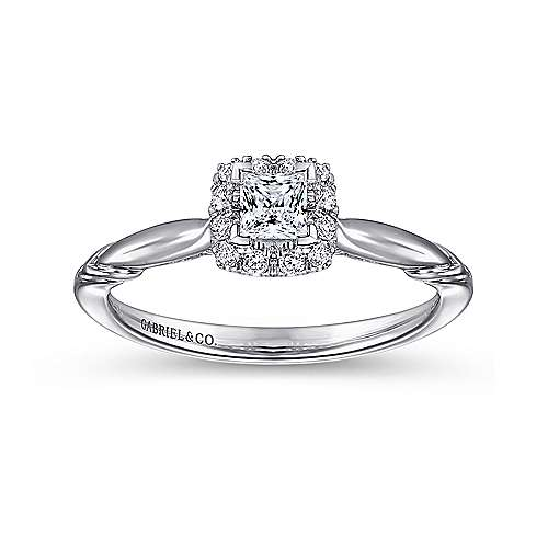Daraga 14k White Gold Princess Cut Halo Engagement Ring angle 5