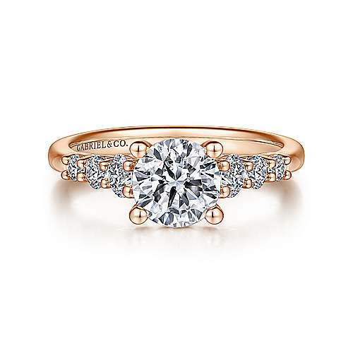 Gabriel - Darby 14k Rose Gold Round Straight Engagement Ring
