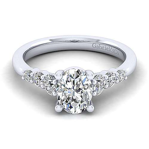 Gabriel - Darby 14k White Gold Oval Straight Engagement Ring