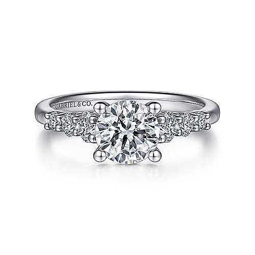 Gabriel - Darby 14k White Gold Round Straight Engagement Ring