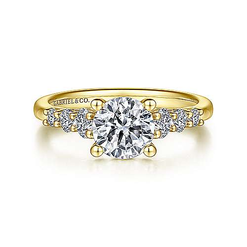Gabriel - Darby 14k Yellow Gold Round Straight Engagement Ring
