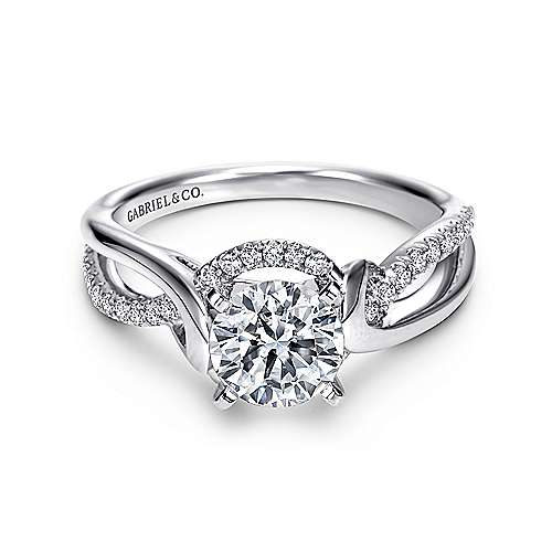 Gabriel - Darcy 14k White Gold Round Twisted Engagement Ring