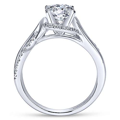 Darcy 14k White Gold Round Twisted Engagement Ring angle 2