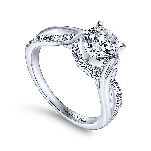 Darcy 14k White Gold Round Twisted Engagement Ring angle 3