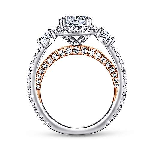 Darla 18k White And Rose Gold Round 3 Stones Halo Engagement Ring angle 2