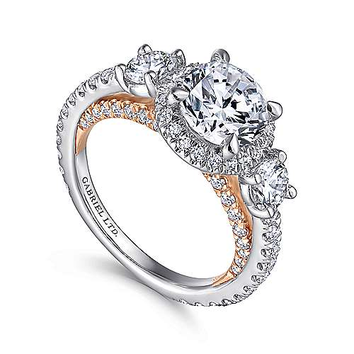 Darla 18k White And Rose Gold Round 3 Stones Halo Engagement Ring angle 3