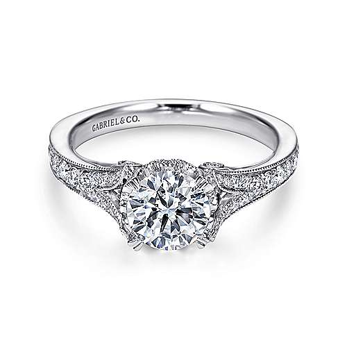 Gabriel - Darling 18k White Gold Round Split Shank Engagement Ring