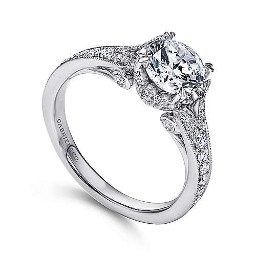Darling 18k White Gold Round Split Shank Engagement Ring angle 3