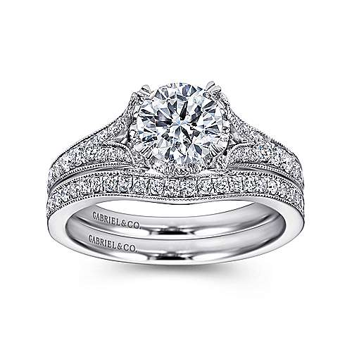 Darling 18k White Gold Round Split Shank Engagement Ring angle 4