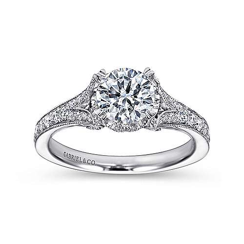Darling 18k White Gold Round Split Shank Engagement Ring angle 5