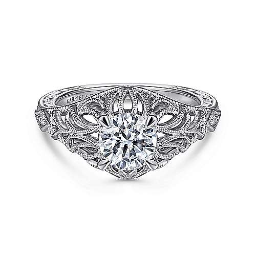 Darren 14k White Gold Round Wide Band Engagement Ring