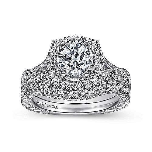 Darya 18k White Gold Round Halo Engagement Ring angle 4