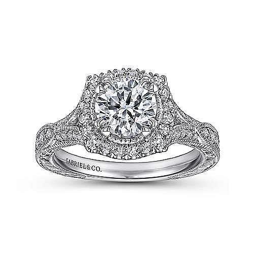 Darya 18k White Gold Round Halo Engagement Ring angle 5